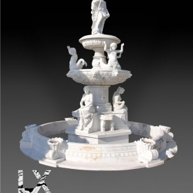 汉白玉西式三层景观喷泉