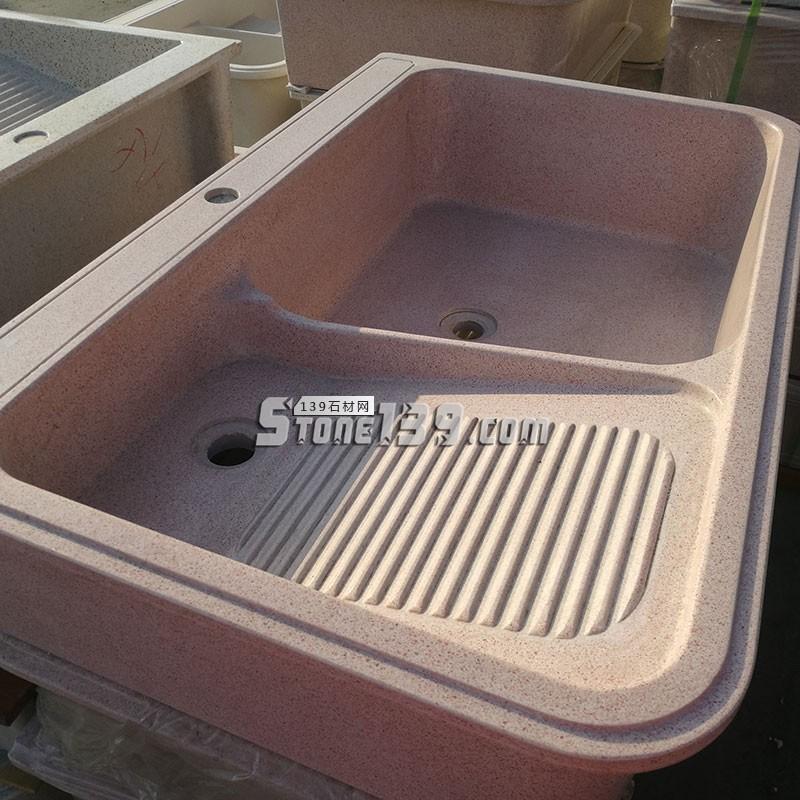 粉色石英石洗衣池-- 福建信德石业