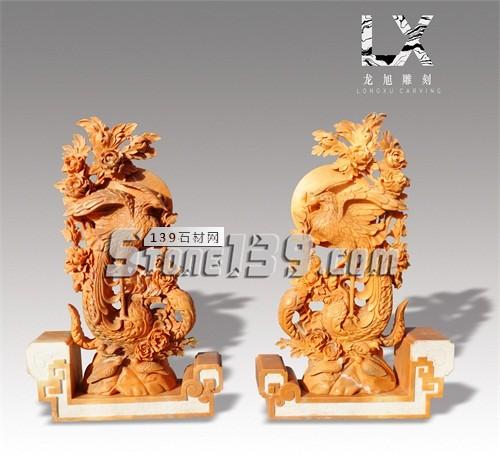 供应桔子玉中式凤穿牡丹雕件-- 龙旭石材有限公司