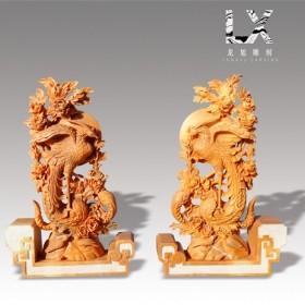供应桔子玉中式凤穿牡丹雕件