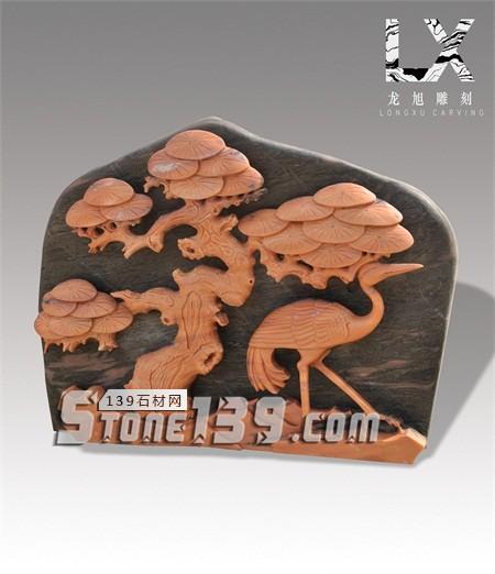 供应传统浮雕松鹤延年雕件-- 龙旭石材有限公司