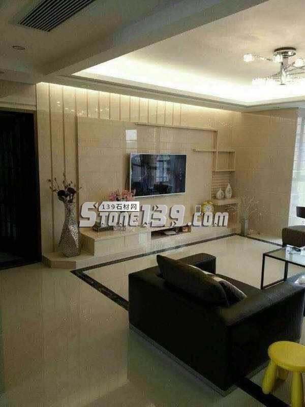 米黄岗石打造的客厅简约背景墙-- 亚娜线条城