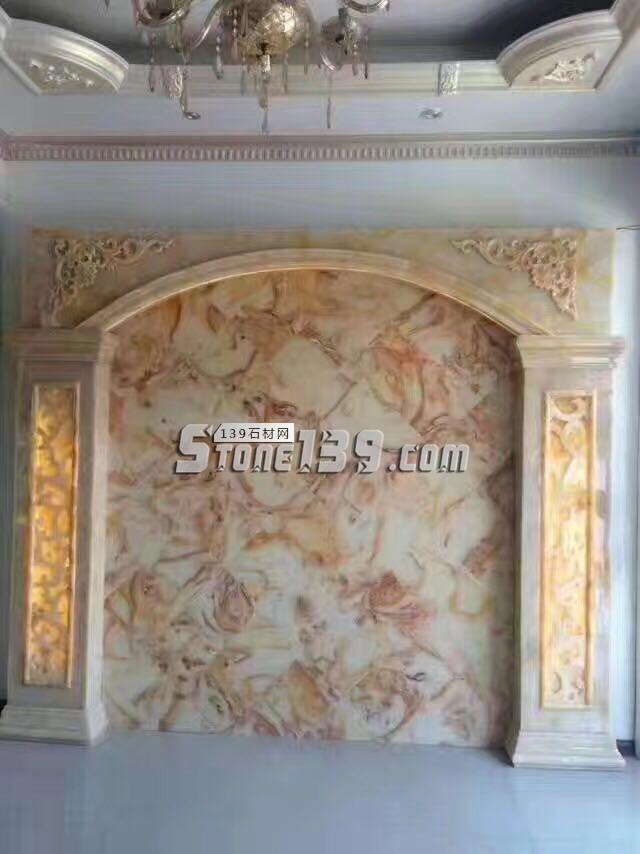 黄玉透光石装饰电视背景墙-- 亚娜线条城
