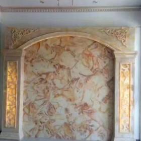 黄玉透光石装饰电视背景墙