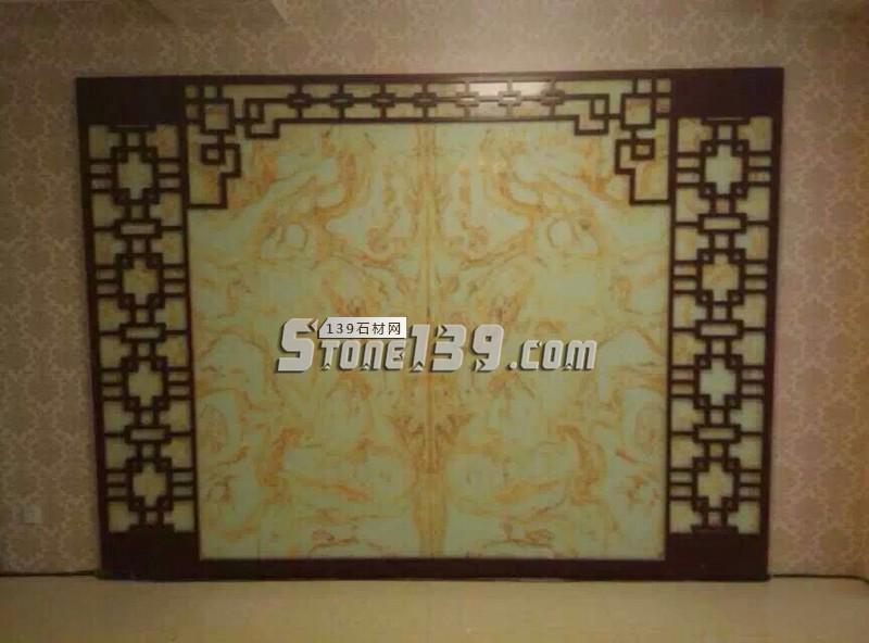 中国风背景 青玉透光人造石屏风装饰-- 亚娜线条城