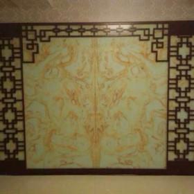 中国风背景 青玉透光人造石屏风装饰