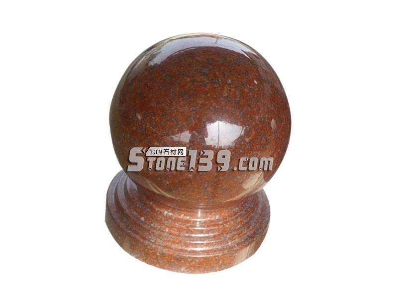 水头石材红球 红色石材圆球 挡车球