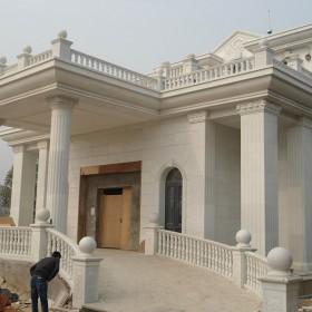 别墅石材 白灰颜色外墙装饰 欧美风格