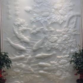 玉石浮雕背景墙 CNC雕刻加工