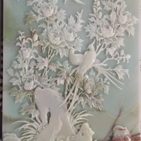 花开富贵玉石石材浮雕CNC雕刻