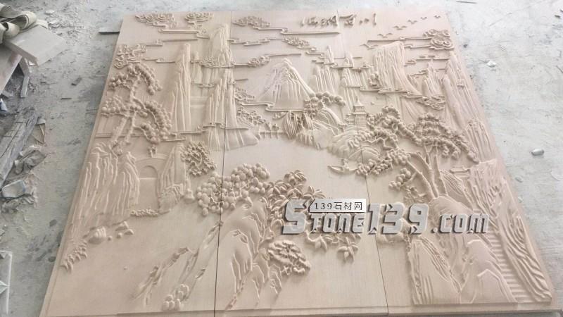 砂岩浮雕 海纳百川-- 天豪艺品雕刻中心