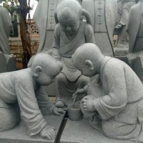 四川青石雕刻 三个小孩场景雕刻