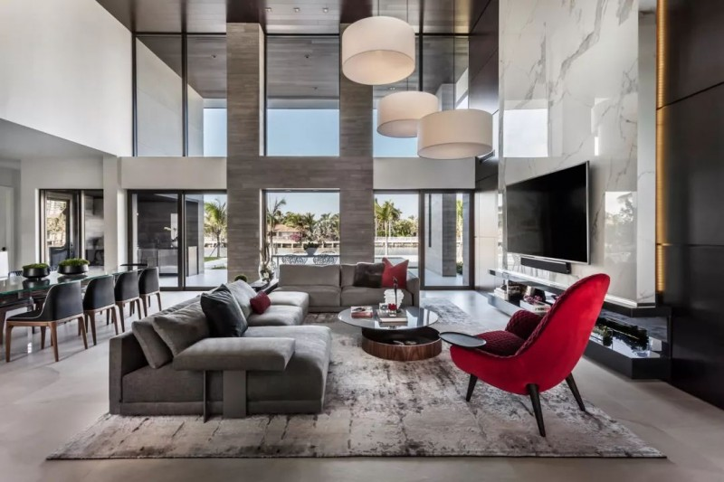 大理石装饰的室内空间 黑白灰色经典国际范