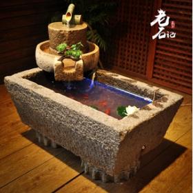 砂岩老石槽鱼缸石盆流水组合聚财景观拴马桩搭配艺术空间摆设工艺
