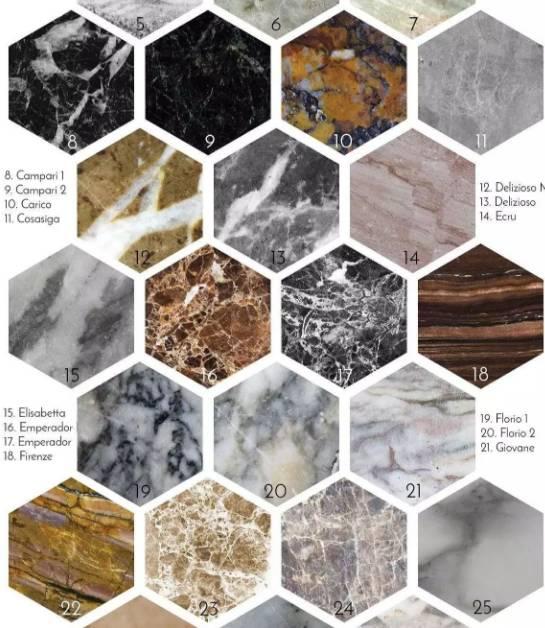 大理石的各种颜色系列搭配装饰应用