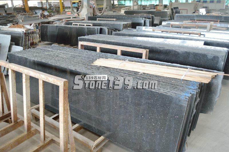 60头黑金沙毛光板现货 待加工-- 阿俐石材有限公司