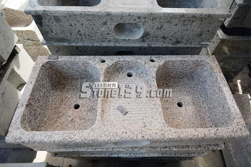 1.2米洗衣池 原石花岗岩一体洗衣池 带两个盆