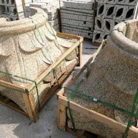 石材柱子 罗马柱 柱帽 黄金麻罗马柱