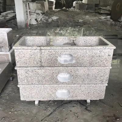 虎皮石系列洗衣池 双盆带搓衣板的石材洗衣池