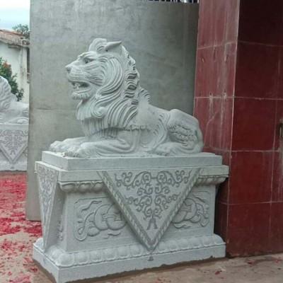 大门石狮子供应 石雕狮子 青石石雕狮子