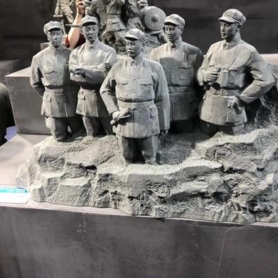 历史场景人物雕刻 抗日战争时期主题人物雕刻
