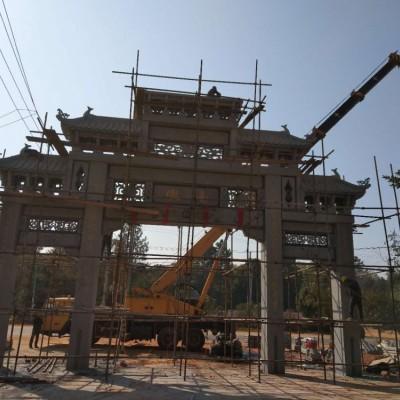 惠安山门牌坊石雕加工厂一条龙服务包施工安装