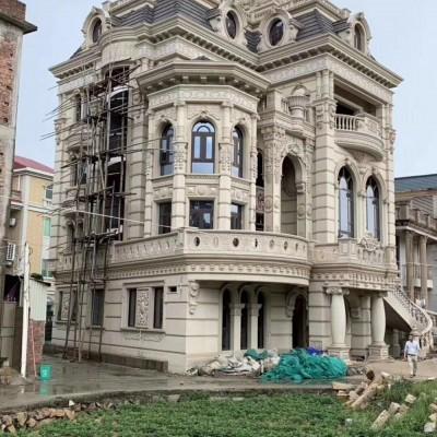 欧式别墅城堡风格的石材装饰 立柱和大型石材浮雕外墙