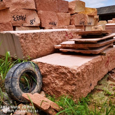 南平光泽红荒料 成品规格板 承接广场地铺园林工程订单