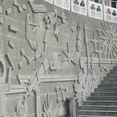 重庆青石浮雕案例 地下通道楼梯墙面青石浮雕装饰应用
