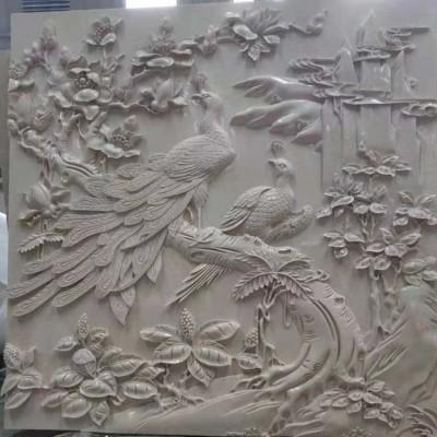 孔雀图案 寓意石雕图案 墙面石雕