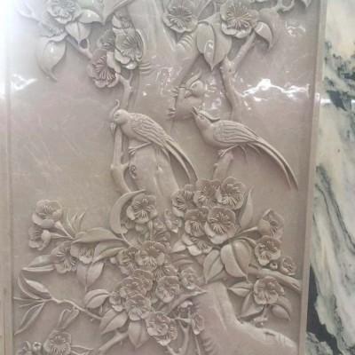 大理石浮雕墙面装饰【 花开富贵】CNC自动雕刻