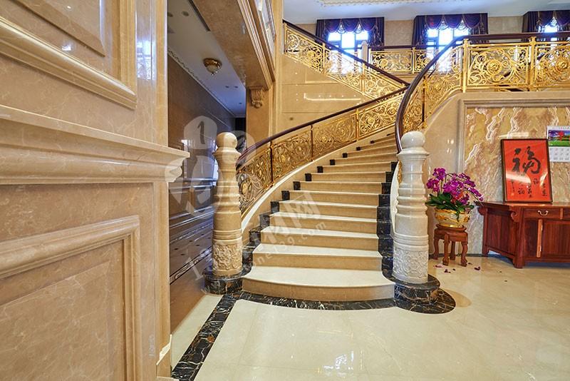别墅石材楼梯,别墅大理石楼梯装饰案例