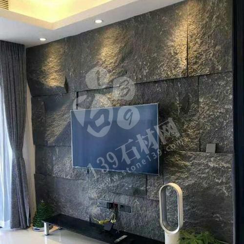 芝麻黑等黑色石材自然面复古背景墙装饰 中国风的韵味 世界流行