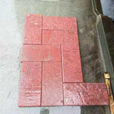 鸡血红方块铺地砖 鸡血红地铺石