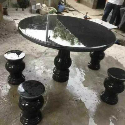 杭州石凳子 芝麻黑圆桌椅凳子