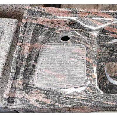 幻彩红洗衣池石材一体原石标准洗衣池