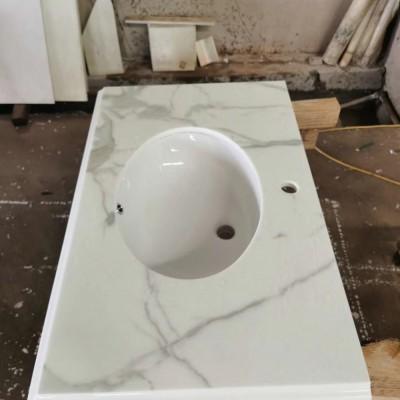 微晶石纹路板洗手台(挖孔挖盆孔)