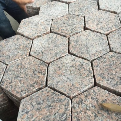 枫叶红六角拼花岗岩六角砖园林地铺石