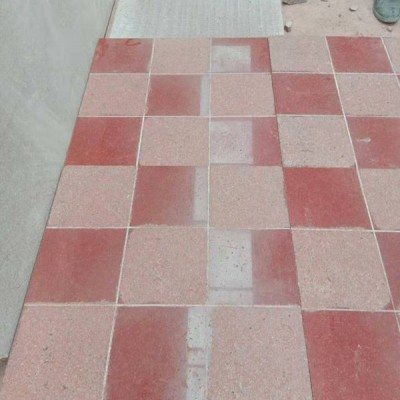 中国红石材地铺混搭