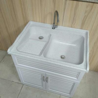 白色洗衣池洗衣柜一体(单盆带搓衣板)