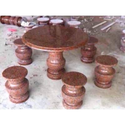 岑溪红圆桌 庭院桌椅配套 一桌四凳