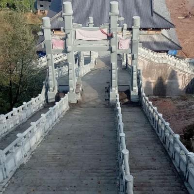 青石栏杆护栏 门牌坊 古色古香建筑 中国风
