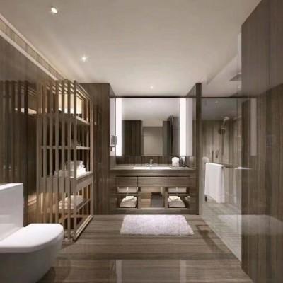 咖啡木纹大理石浴室装饰
