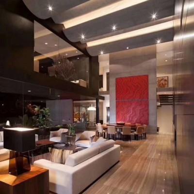 咖啡木纹大堂地板 复式楼客厅大理石地板应用