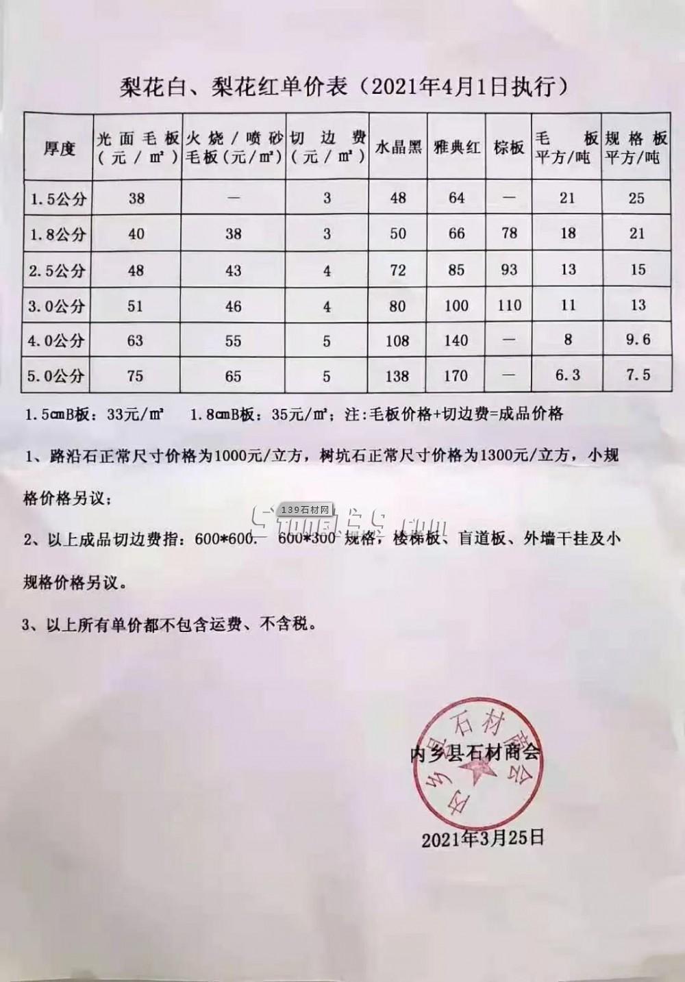 梨花白、梨花红、染色板等内乡花岗岩产品2021年4月1日执行价格表单